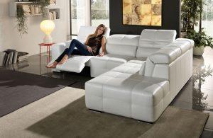 Megane Egoitaliano leder couch mit relaxfunktion wohnlandschaft Funktionssofa