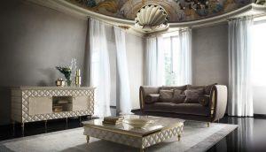 arredoclassic Adora SIPARIO Tv klassische Massivholz Fernsehschrank Board Weiß Sideboard 3