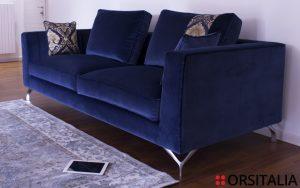 Canova- Blau-Samt mit Damast-Samt in Renaissance-Stil-orsitalia