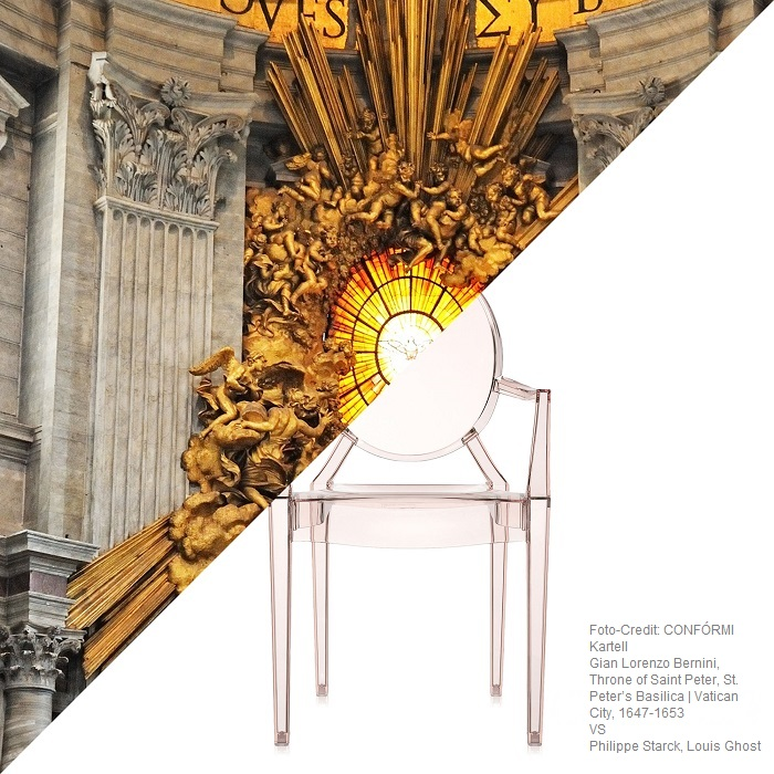 Kartell austellung Palazzo Reale Gian Lorenzo Bernini, Throne of Saint Peter, VS Philippe Starck, Louis Ghost