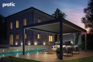 Pratic BRERA S Moderne Terrasse Pergola Gazebo Pavillon mit Seitenwänden und Sonnenschutz
