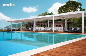 vision-moderne terrasse Pergola - Gazebo - Pavillon mit seitenwänden und Sonnenschutz Pratic 8