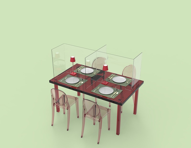 DELLO-3-decentrato Restaurant Gastronomie Plexiglas-Tischtrenner Covid-19 Spuckschutz Abtrennung