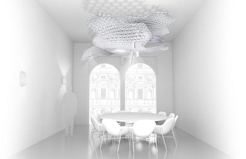 Slamp NUVEM DEKORATIVE Modulares Decken-Wand system mit licht rendering konferenzraum 3-min