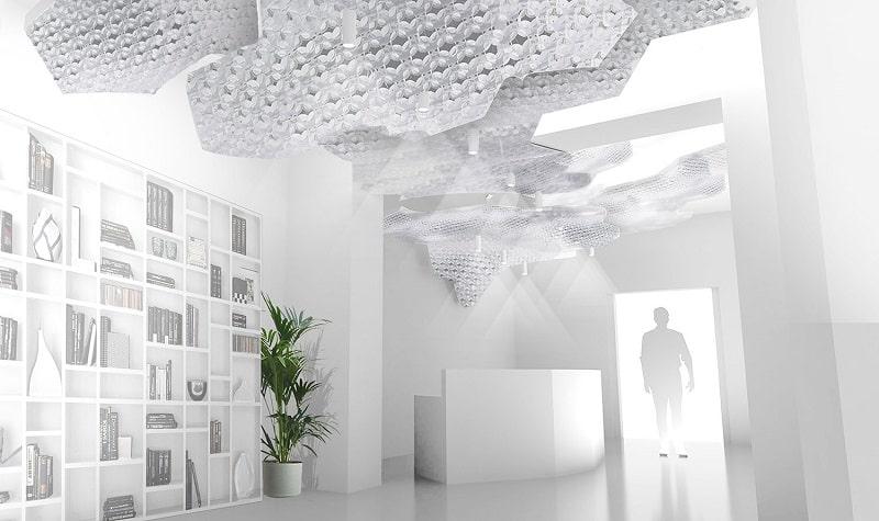 Slamp NUVEM DEKORATIVE Modulares Decken-Wand system mit licht rendering konferenzraum 4-min