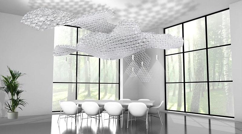 Slamp NUVEM DEKORATIVE Modulares Decken-Wand system mit licht rendering konferenzraum-min
