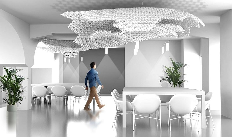 Slamp NUVEM DEKORATIVE Modulares Decken-Wand system mit licht rendering offentliche fläche 3-min