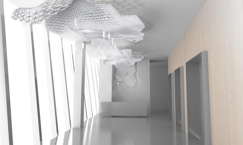 Slamp NUVEM DEKORATIVE Modulares Decken-Wand system mit licht rendering offentliche fläche 4-min