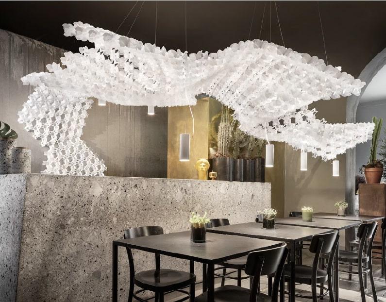 Slamp NUVEM DEKORATIVE Modulares Decken-Wand system mit licht restaurant-min