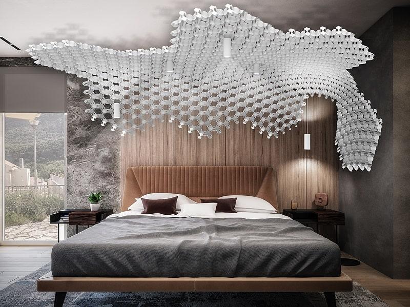 Slamp NUVEM DEKORATIVE Modulares Decken-Wand system mit licht schlafzimmer 2-min