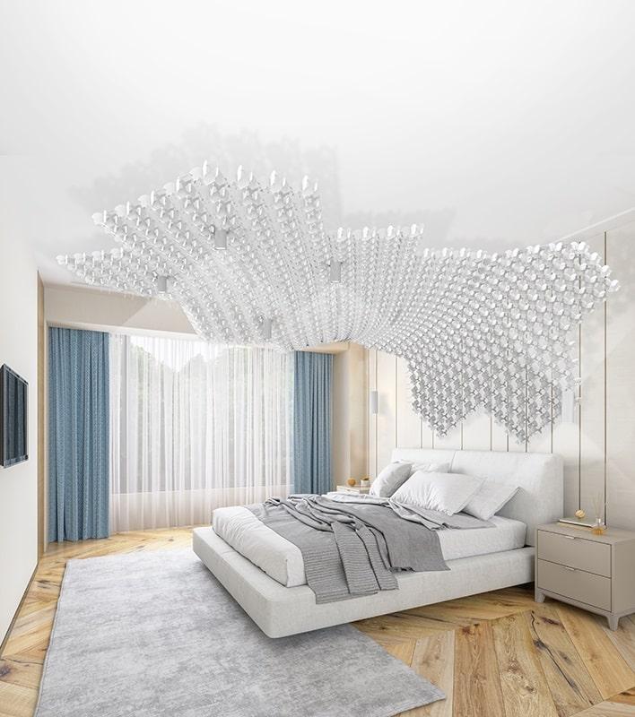 Slamp NUVEM DEKORATIVE Modulares Decken-Wand system mit licht schlafzimmer 4-min