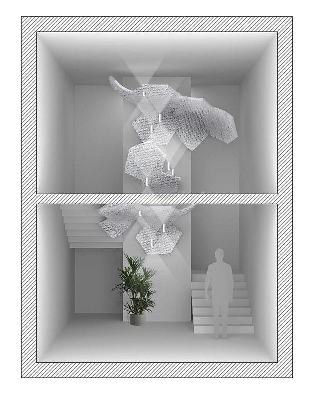 Slamp NUVEM DEKORATIVE Modulares Decken-Wand system mit licht treppenauge-min