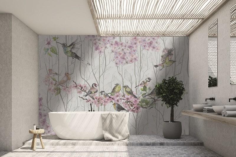 Instabilelab_flying away dekorative Wandtapete Badezimmer Ambiente inspirationen einrichten Traumbad-min