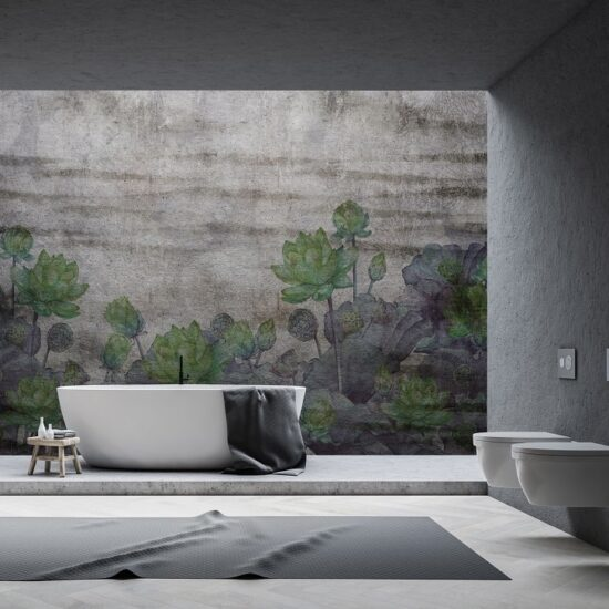 | Instabilelab_november green dekorative Wandtapete Badezimmer Ambiente inspirationen einrichten Traumbad-min