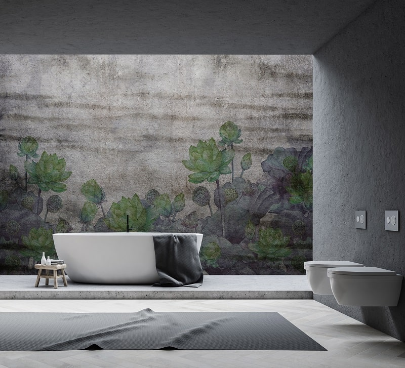   Instabilelab_november green dekorative Wandtapete Badezimmer Ambiente inspirationen einrichten Traumbad-min