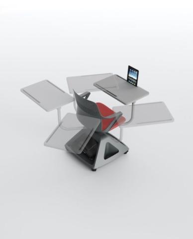 Ibebi ROVER EVO Konferenzstuhl mit Schreibtablar auf Rollen Klassenzimmerbestuhlung Seminarbestuhlung Seminarstühle 10