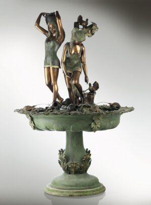 AQUARELLBRUNNEN_klassische_brunnen_bronzebrunnen_bronze_und_gruene_patina_Kunsthandwerke