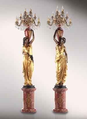 NEOKLASSISCHES_MAeDCHENPAAR_klassische_lampen_leuchten_bronze-_und_goldblattplatina_Kunsthandwerke