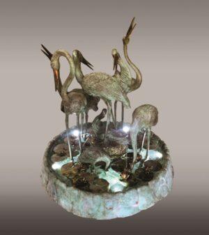 REIHERBRUNNEN_klassische_brunnen_bronzebrunnen_bronze_und_gruene_platina_Kunsthandwerke